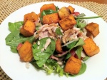 chicken-walnut-and-bacon-salad-with-roast-pumpkin-and-garlic